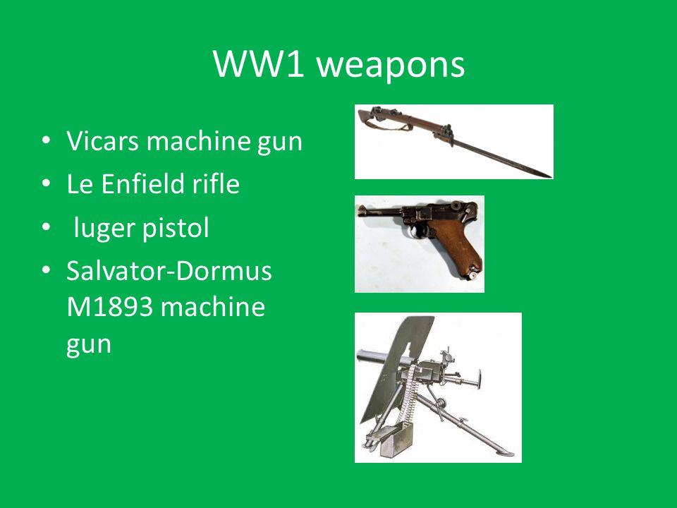 WW1 weapons Vicars machine gun Le Enfield rifle luger pistol Salvator-Dormus M1893 machine gun