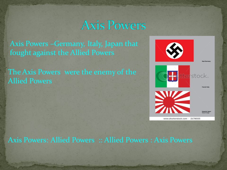 Axis Powers –Germany, Italy, Japan that fought against the Allied Powers The Axis Powers were the enemy of the Allied Powers Axis Powers: Allied Powers :: Allied Powers : Axis Powers