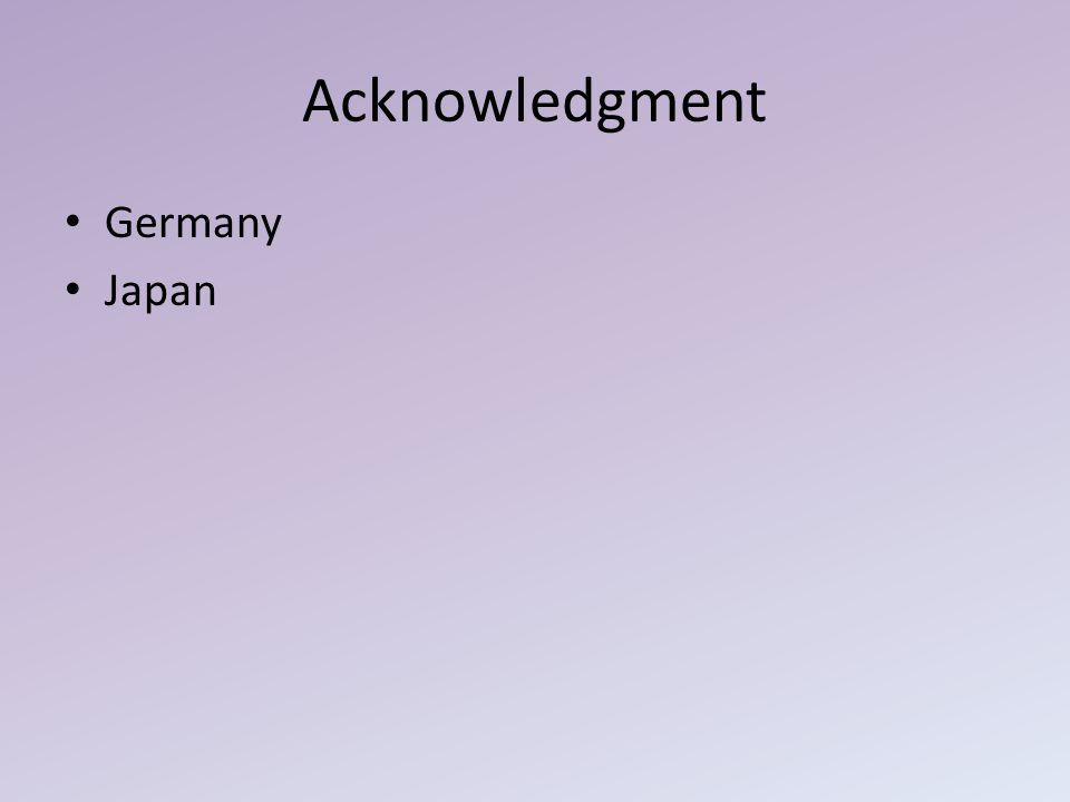 Acknowledgment Germany Japan
