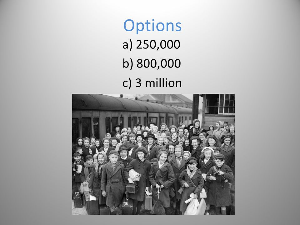 Question 3 How many children were evacuated during the first week of WW2