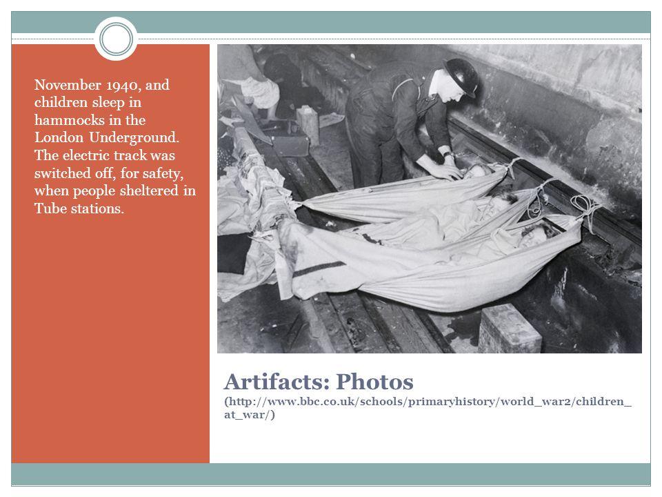 November 1940, and children sleep in hammocks in the London Underground.