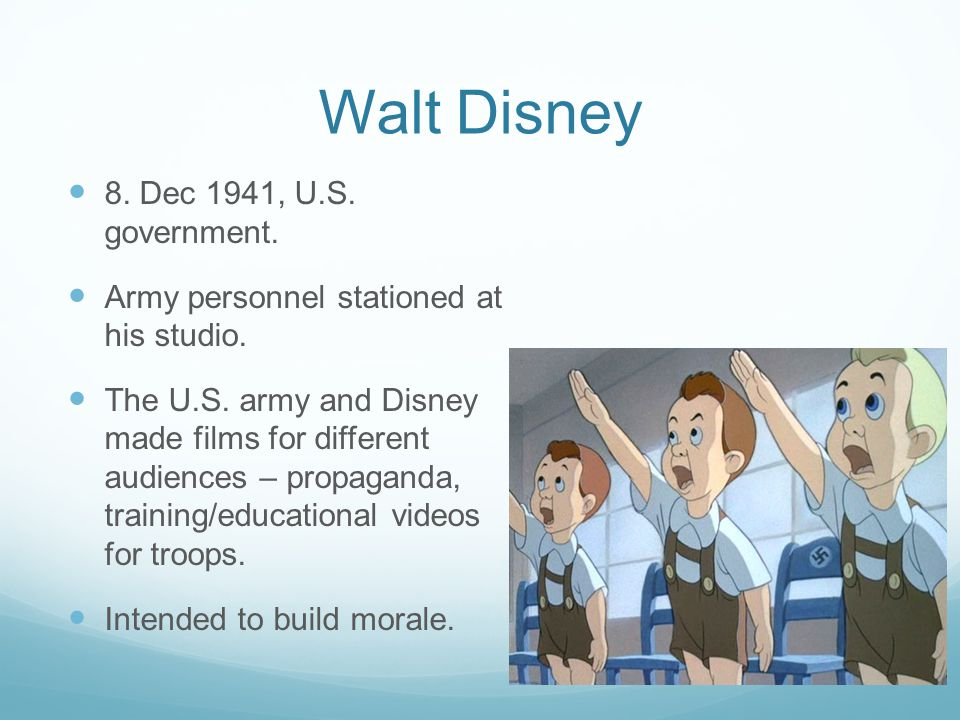 Walt Disney 8. Dec 1941, U.S. government. Army personnel stationed at his studio.