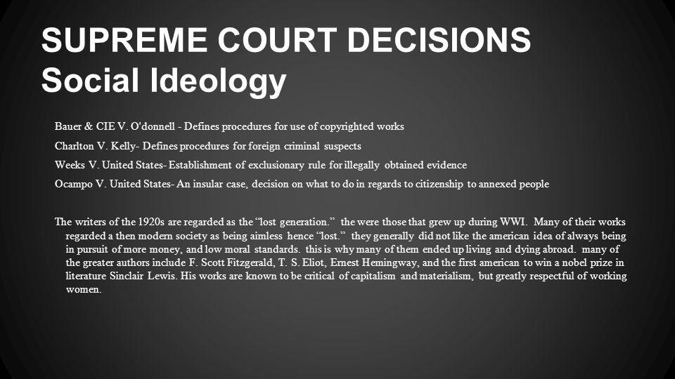 SUPREME COURT DECISIONS Social Ideology Bauer & CIE V.