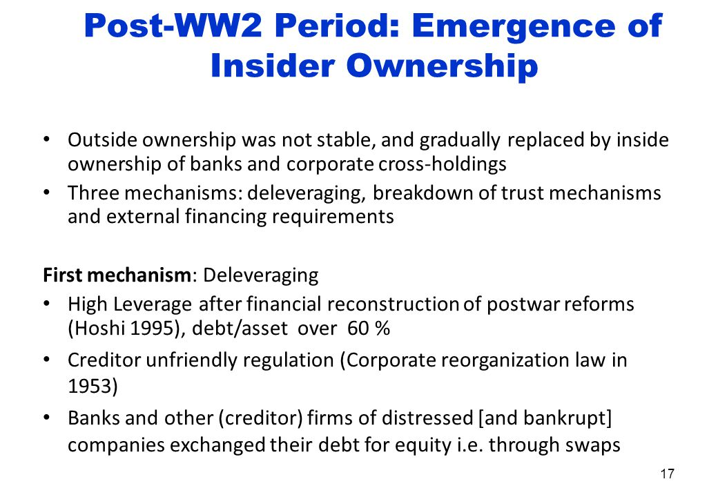Post-WW2 Period: Emergence of Insider Ownership Outside ownership was not stable, and gradually replaced by inside ownership of banks and corporate cross-holdings Three mechanisms: deleveraging, breakdown of trust mechanisms and external financing requirements First mechanism: Deleveraging High Leverage after financial reconstruction of postwar reforms (Hoshi 1995), debt/asset over 60 % Creditor unfriendly regulation (Corporate reorganization law in 1953) Banks and other (creditor) firms of distressed [and bankrupt] companies exchanged their debt for equity i.e.