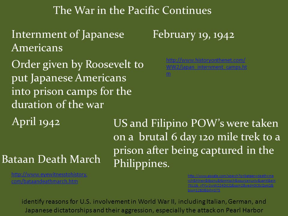 The War Continues in the Pacific December 8, 1941 – The United States declares war on Japan December 11, 1941 – Germany & Italy declare war on the United States December 11, 1941 – The United States declares war on Germany & Italy identify reasons for U.S.