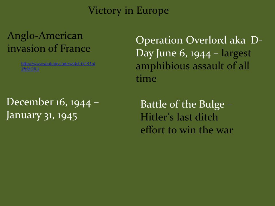 Victory in Europe Operation Torch Nov.