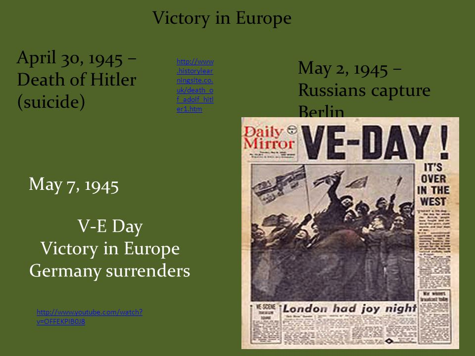 Victory in Europe Anglo-American invasion of France Operation Overlord aka D- Day June 6, 1944 – largest amphibious assault of all time December 16, 1944 – January 31, 1945 Battle of the Bulge – Hitler's last ditch effort to win the war http://www.youtube.com/watch?v=31nt 2fsMORU