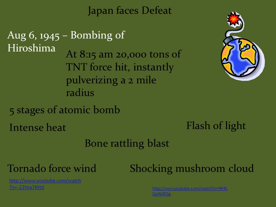 Japan faces Defeat The American program to build an atomic bomb.