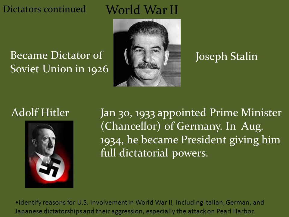 World War II Dictators continued Joseph Stalin Became Dictator of Soviet Union in 1926 Adolf HitlerJan 30, 1933 appointed Prime Minister (Chancellor) of Germany.