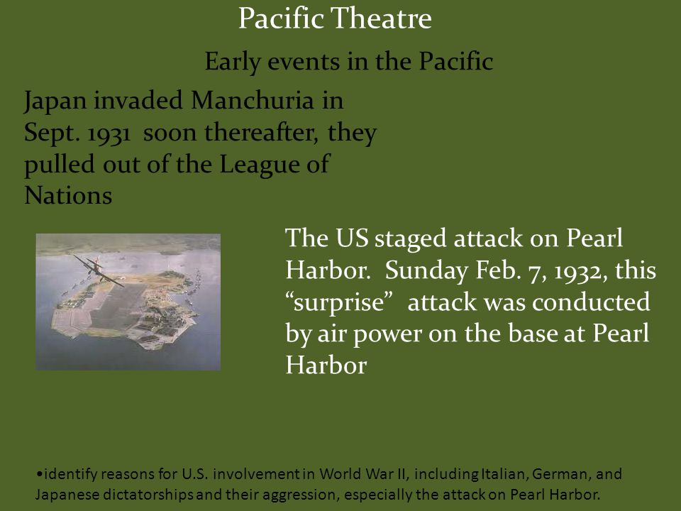 Pacific Theatre Early events in the Pacific Japan invaded Manchuria in Sept.