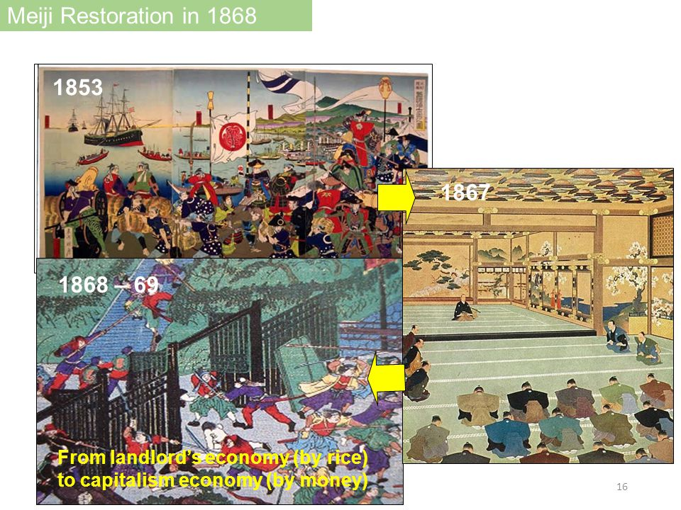 1853 1868 – 69 1867 From landlord's economy (by rice) to capitalism economy (by money) Meiji Restoration in 1868 16