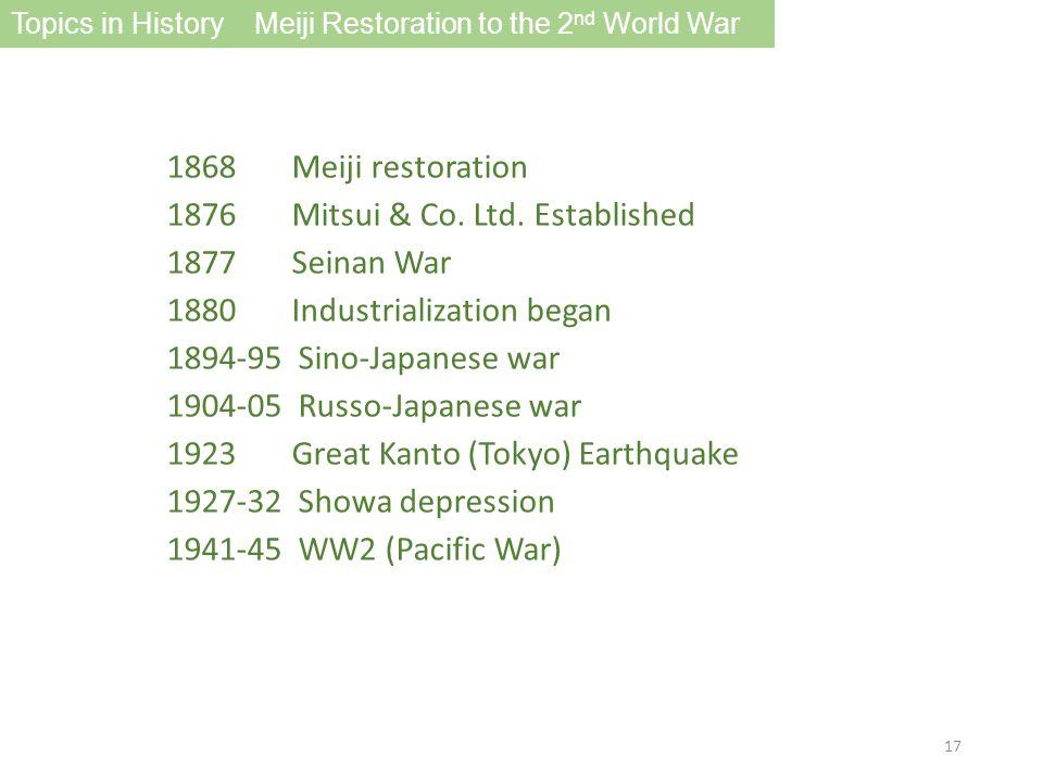 1868 Meiji restoration 1876 Mitsui & Co. Ltd.