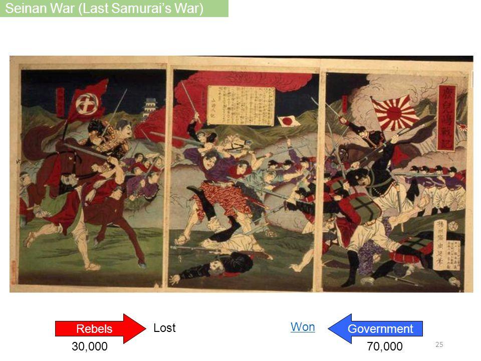 RebelsGovernment Lost Won 70,00030,000 Seinan War (Last Samurai's War) 25