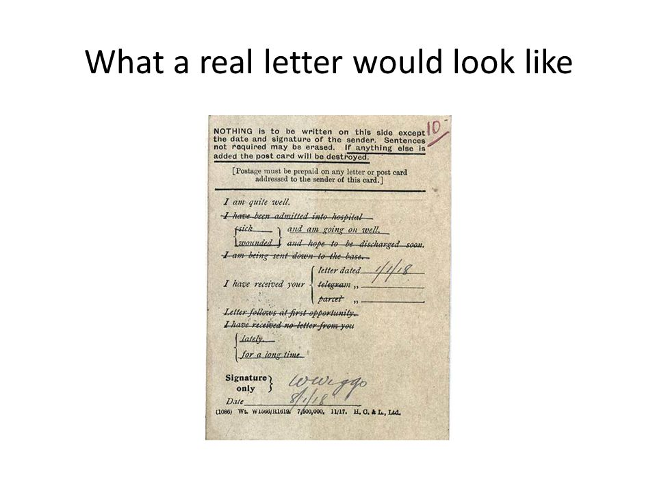 What a real letter would look like
