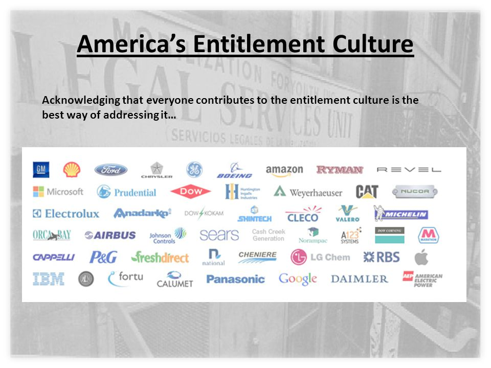 America's Entitlement Culture Acknowledging that everyone contributes to the entitlement culture is the best way of addressing it…