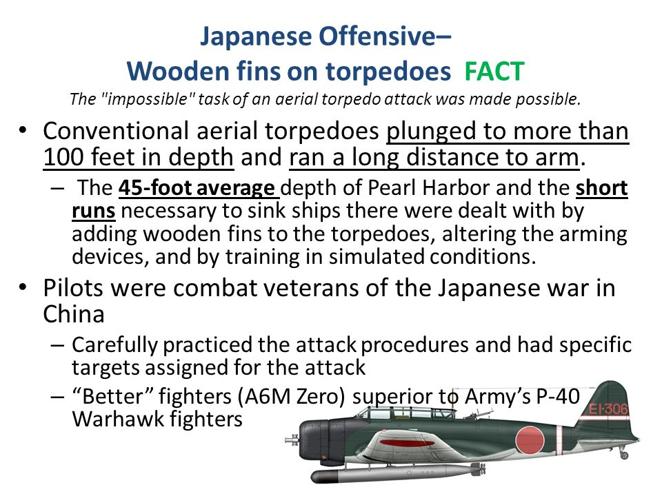Japanese Offensive– Wooden fins on torpedoes FACT The