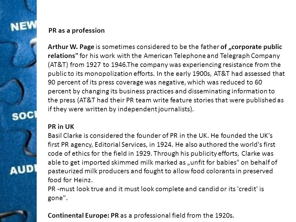 PR as a profession Arthur W.