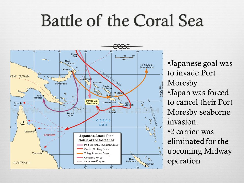 Battle of the Coral SeaBattle of the Coral Sea Japanese goal was to invade Port Moresby Japan was forced to cancel their Port Moresby seaborne invasion.