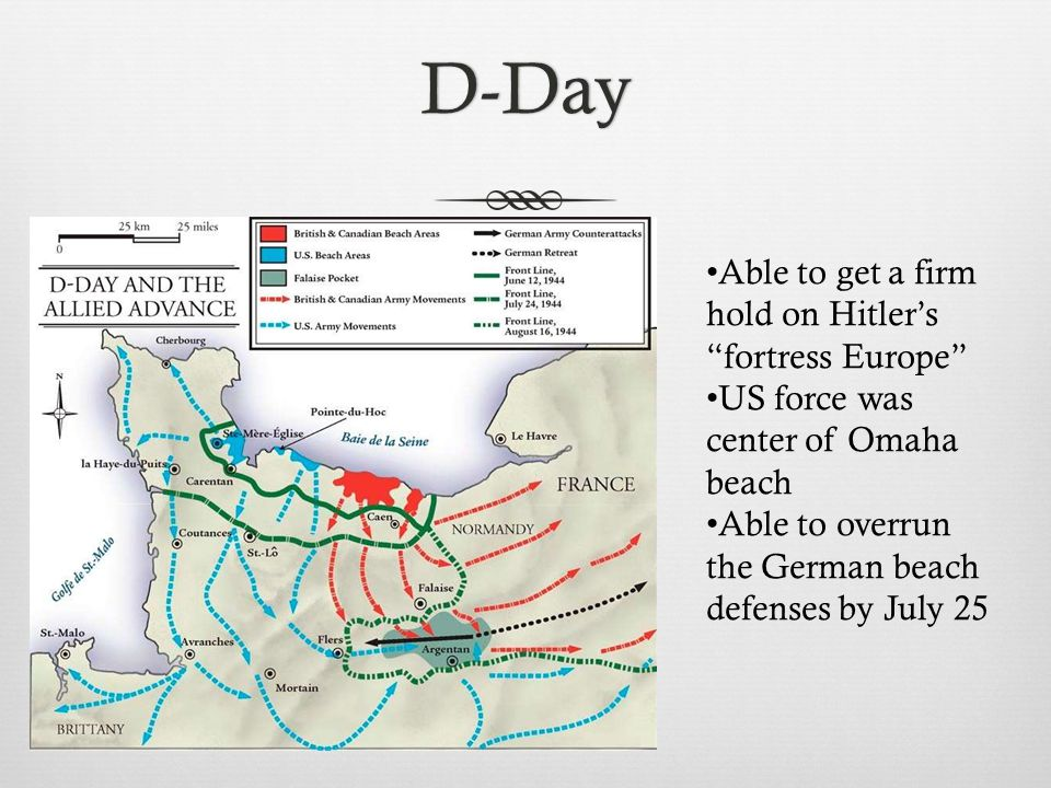 D-Day Able to get a firm hold on Hitler's fortress Europe US force was center of Omaha beach Able to overrun the German beach defenses by July 25