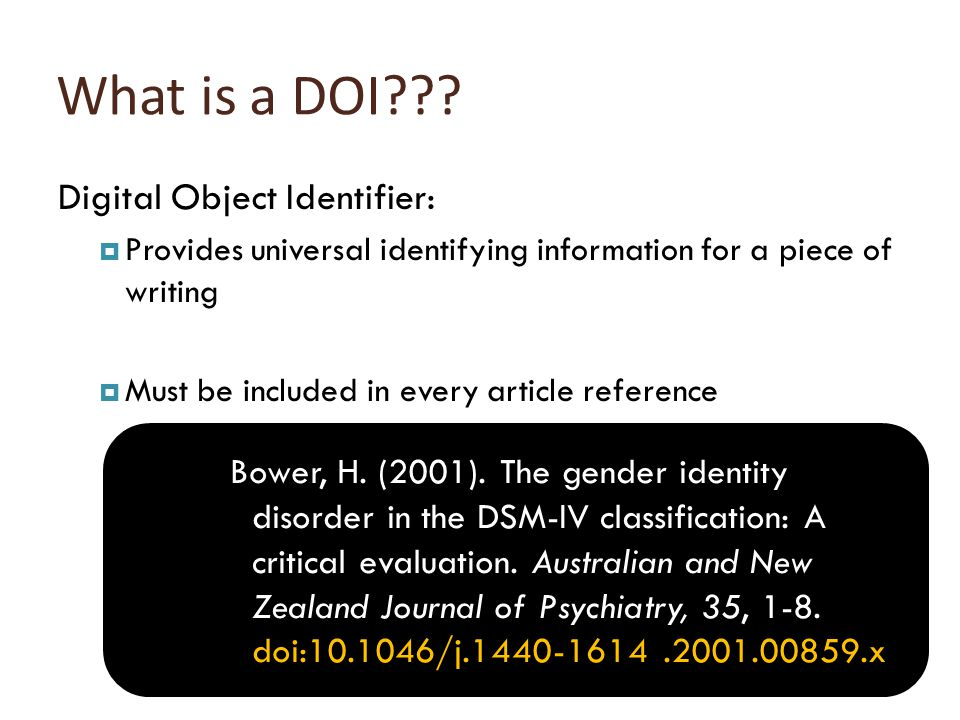 What is a DOI .