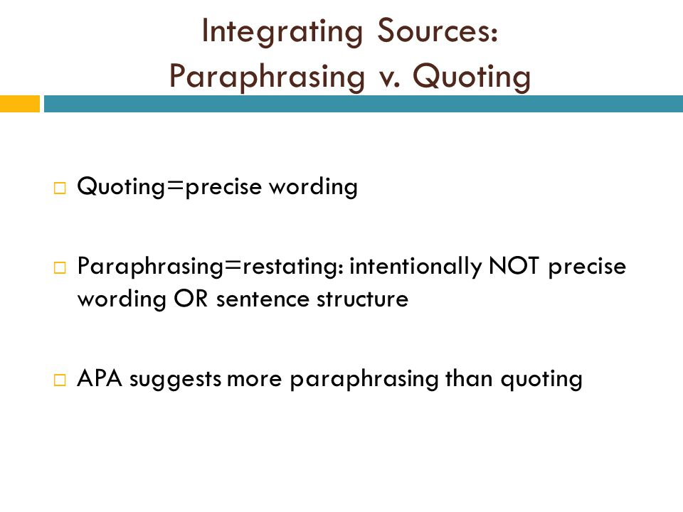 Integrating Sources: Paraphrasing v.