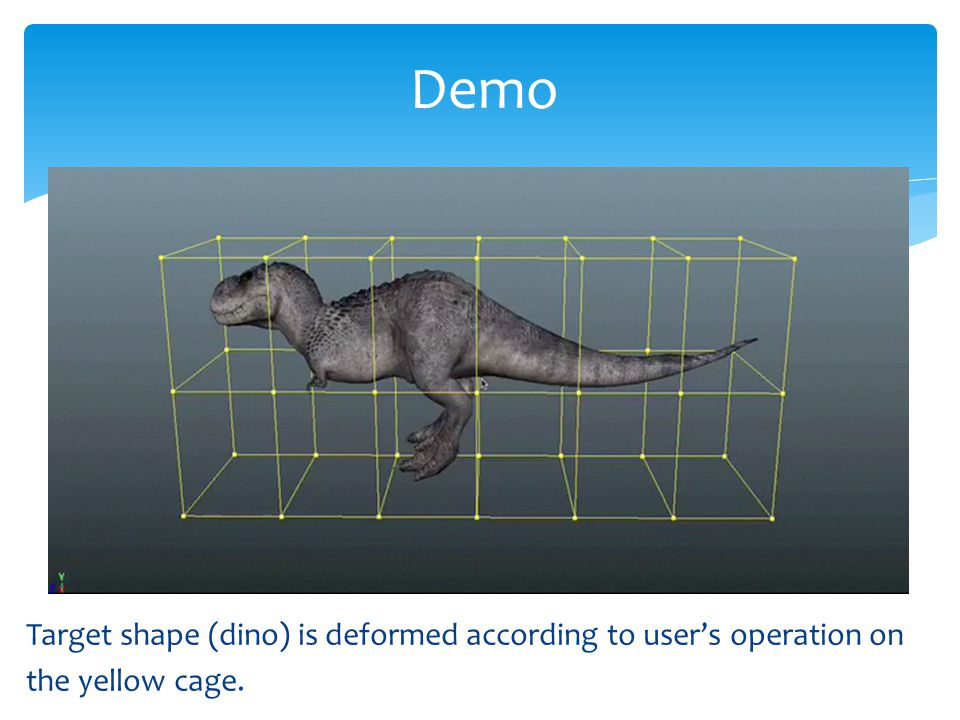 Target shape (dino) is deformed according to user's operation on the yellow cage. Demo