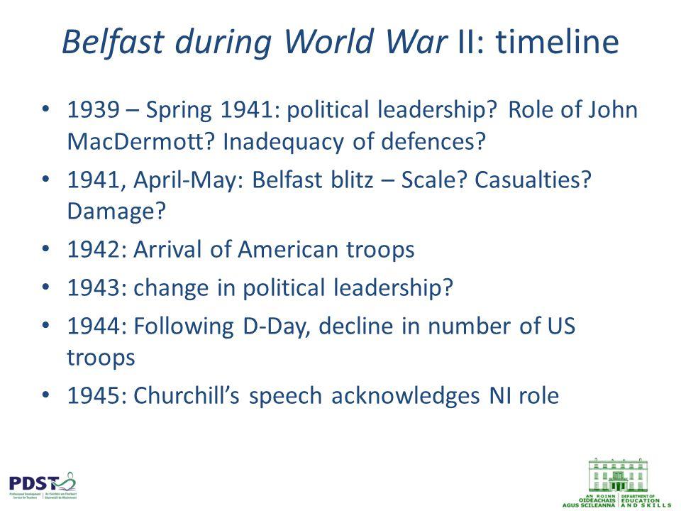 Belfast during World War II: timeline 1939 – Spring 1941: political leadership.
