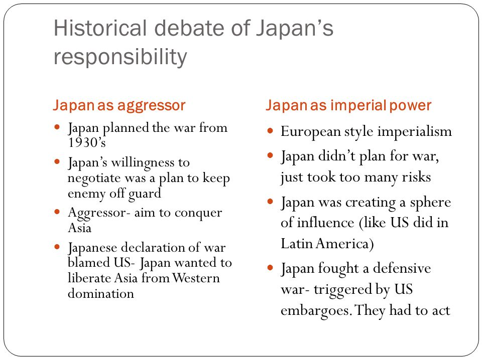 Historical debate of Japan's responsibility Japan as aggressorJapan as imperial power Japan planned the war from 1930's Japan's willingness to negotia