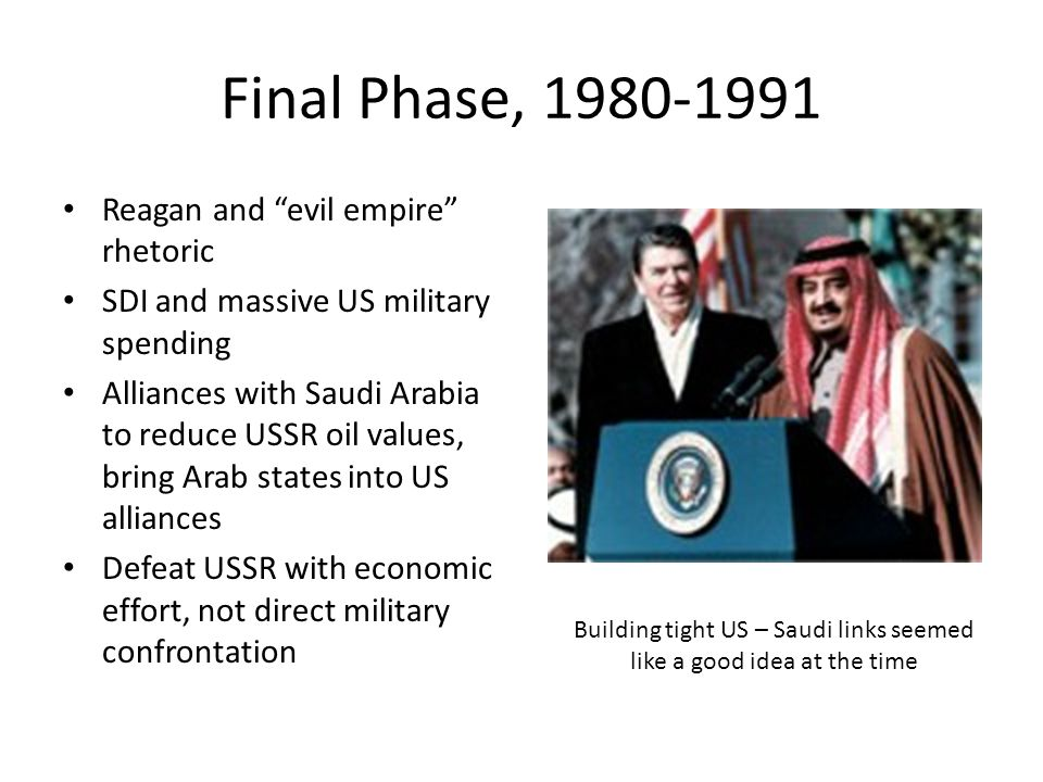 Final Phase, 1980-1991 Reagan and evil empire rhetoric SDI and massive US military spending Alliances with Saudi Arabia to reduce USSR oil values, bring Arab states into US alliances Defeat USSR with economic effort, not direct military confrontation Building tight US – Saudi links seemed like a good idea at the time