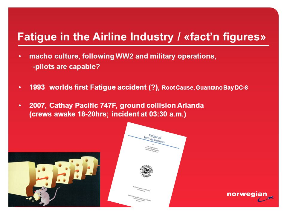 Fatigue in the Airline Industry / «fact'n figures» macho culture, following WW2 and military operations, -pilots are capable.