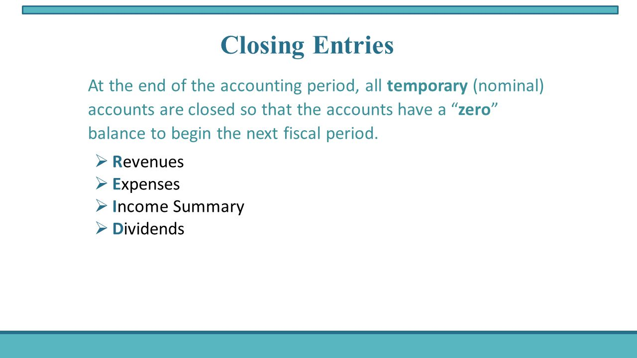 At the end of the accounting period, all temporary (nominal) accounts are closed so that the accounts have a zero balance to begin the next fiscal period.