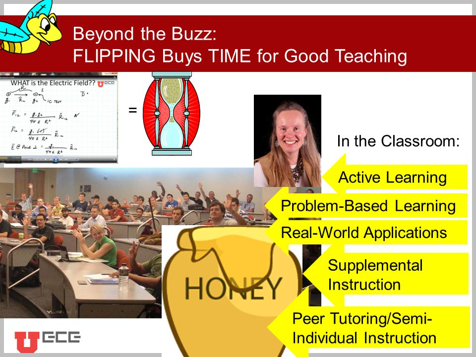 Click to add title Beyond the Buzz: FLIPPING Buys TIME for Good Teaching Active Learning Problem-Based Learning Peer Tutoring/Semi- Individual Instruction Supplemental Instruction Real-World Applications = In the Classroom: