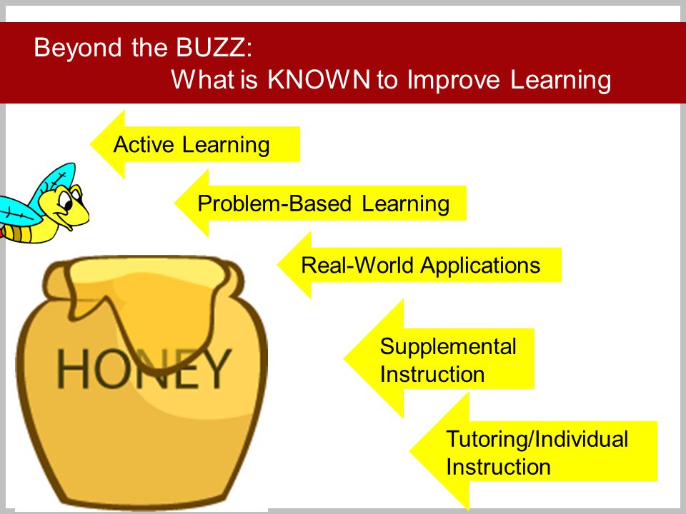 Click to add title Beyond the BUZZ: What is KNOWN to Improve Learning Active Learning Problem-Based Learning Supplemental Instruction Tutoring/Individual Instruction Real-World Applications