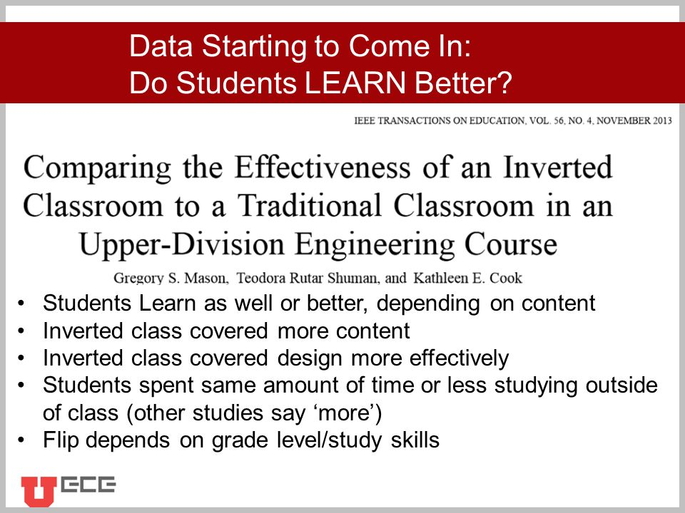 Click to add title Data Starting to Come In: Do Students LEARN Better.