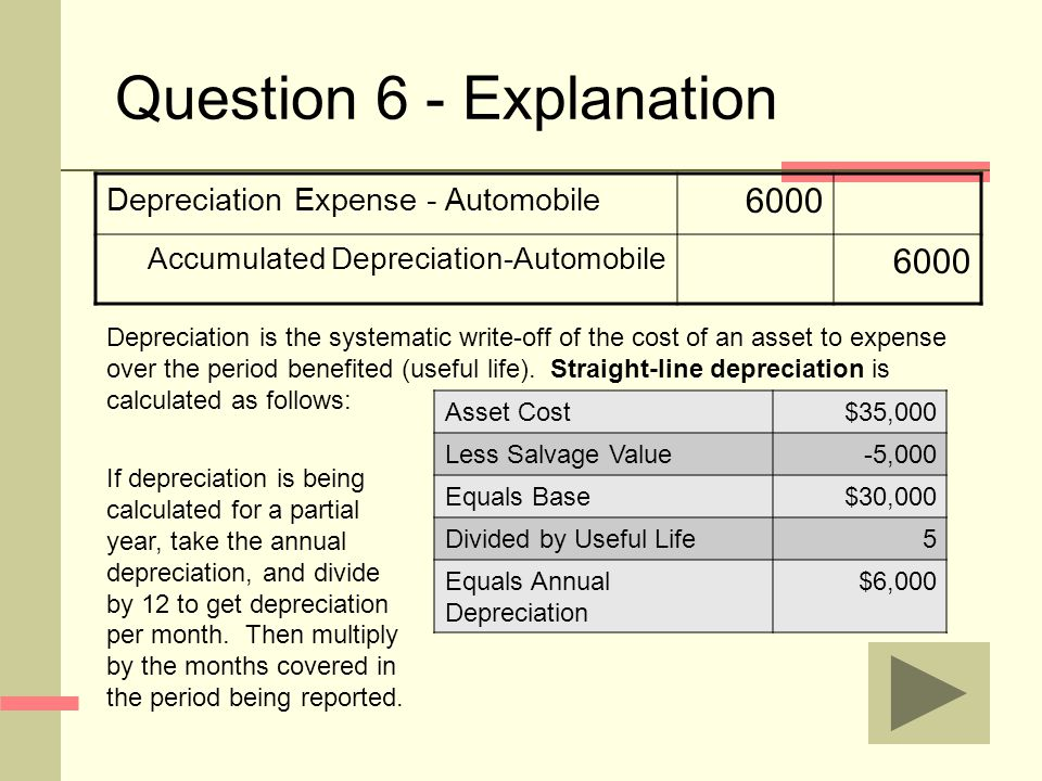 Question 6 - Explanation Depreciation Expense - Automobile 6000 Accumulated Depreciation-Automobile 6000 Depreciation is the systematic write-off of the cost of an asset to expense over the period benefited (useful life).