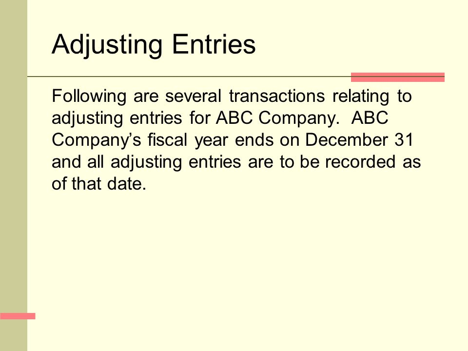 Adjusting Entries Following are several transactions relating to adjusting entries for ABC Company.