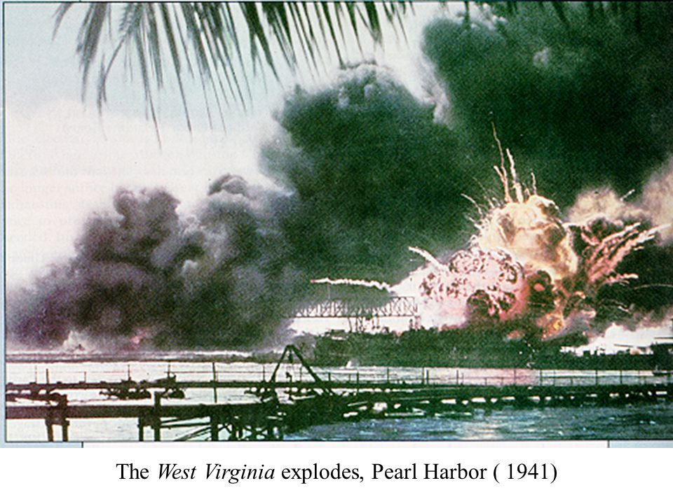 The West Virginia explodes, Pearl Harbor ( 1941)