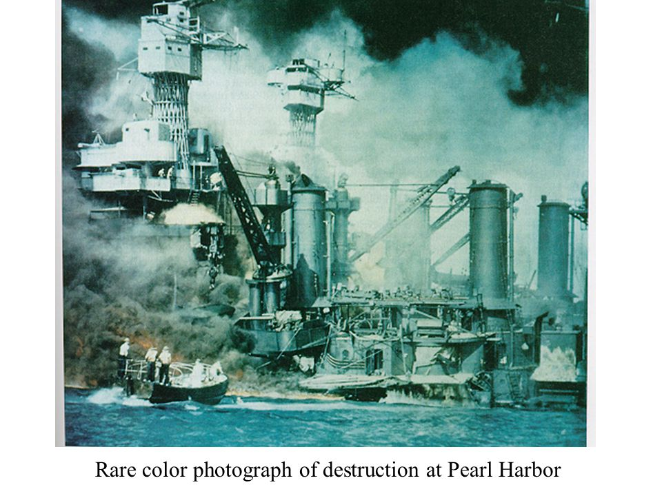 Rare color photograph of destruction at Pearl Harbor