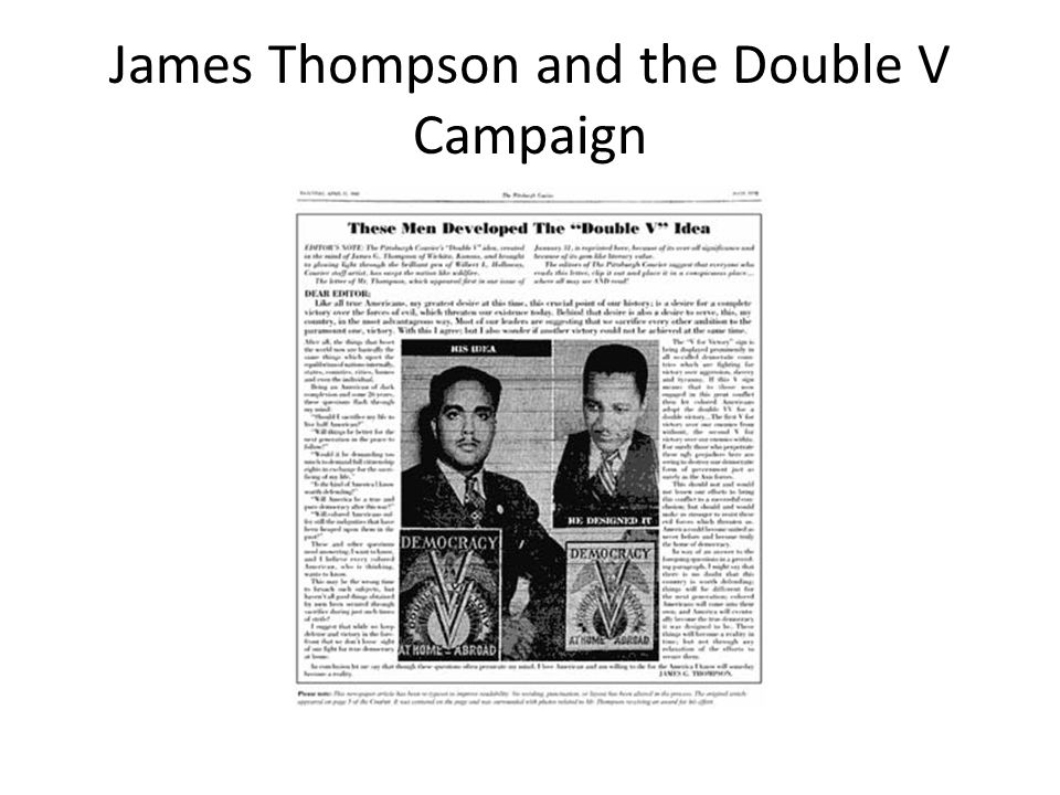 James Thompson and the Double V Campaign