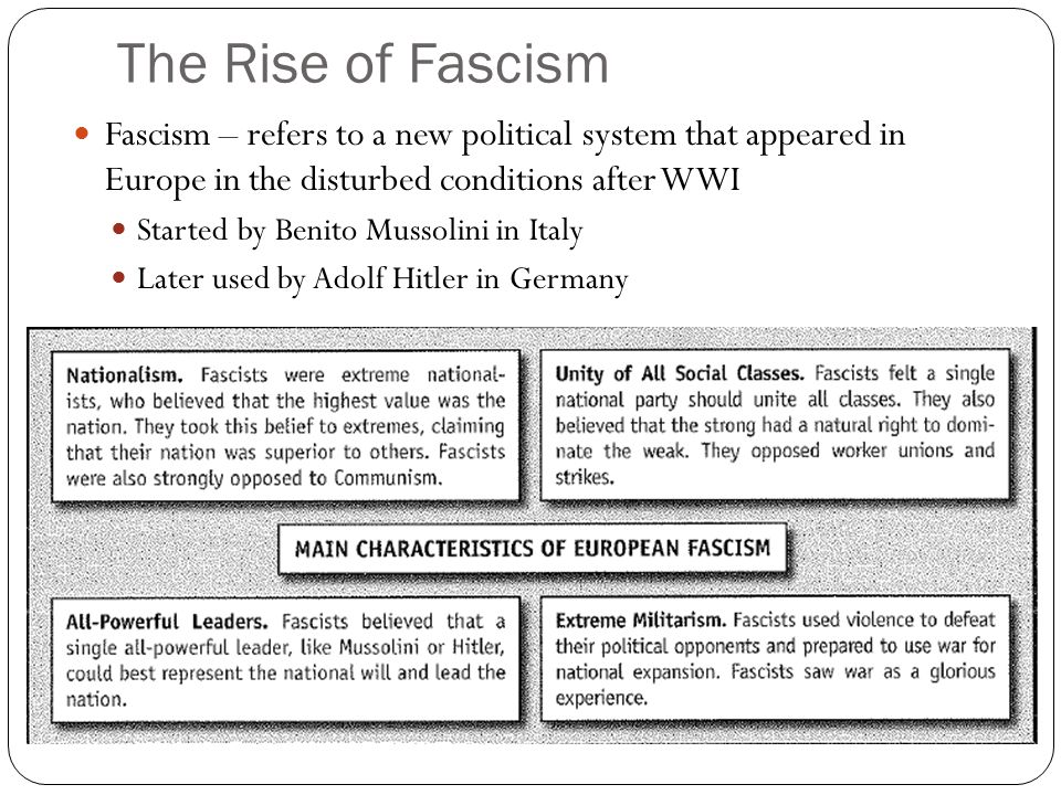 The Rise of Fascism Fascism – refers to a new political system that appeared in Europe in the disturbed conditions after WWI Started by Benito Mussolini in Italy Later used by Adolf Hitler in Germany