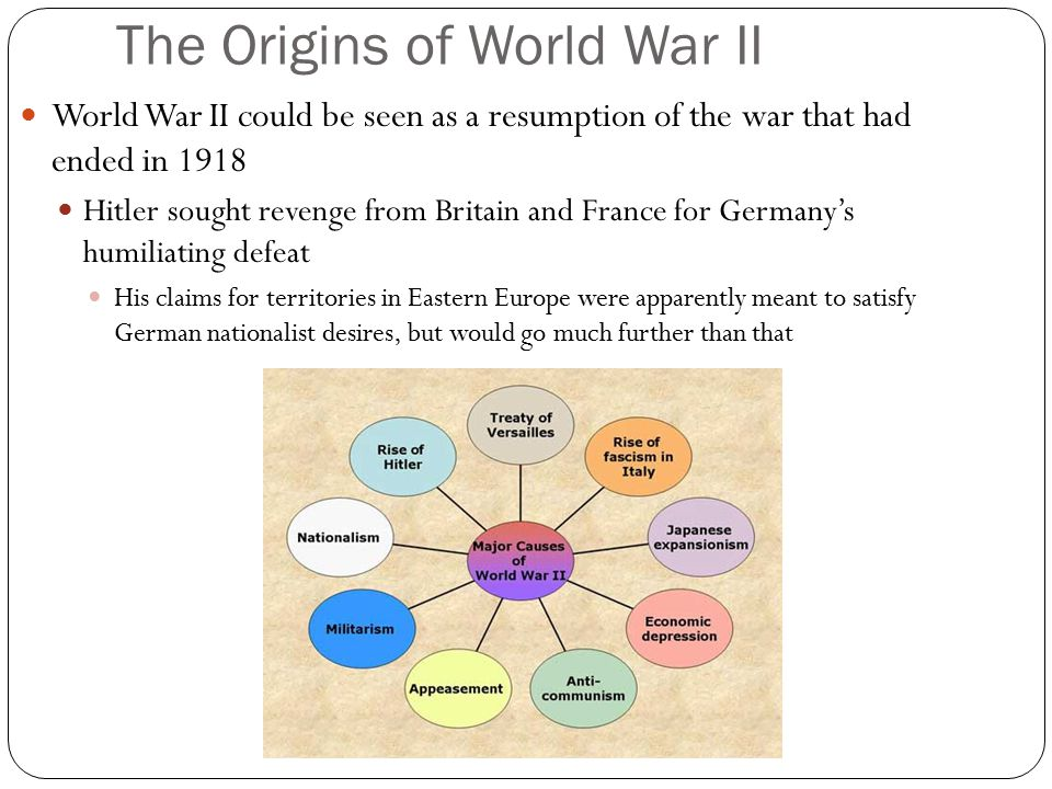 The Origins of World War II World War II could be seen as a resumption of the war that had ended in 1918 Hitler sought revenge from Britain and France for Germany's humiliating defeat His claims for territories in Eastern Europe were apparently meant to satisfy German nationalist desires, but would go much further than that