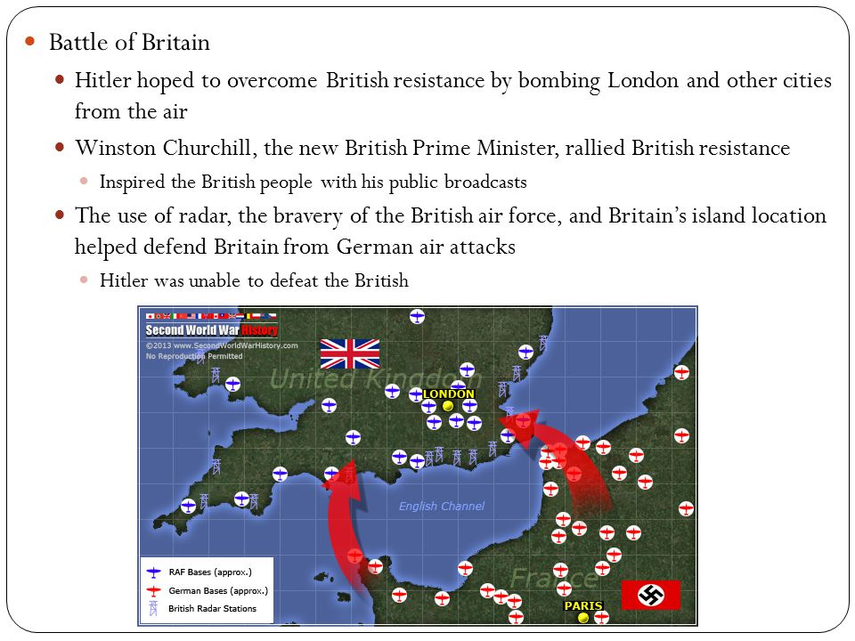 Battle of Britain Hitler hoped to overcome British resistance by bombing London and other cities from the air Winston Churchill, the new British Prime Minister, rallied British resistance Inspired the British people with his public broadcasts The use of radar, the bravery of the British air force, and Britain's island location helped defend Britain from German air attacks Hitler was unable to defeat the British