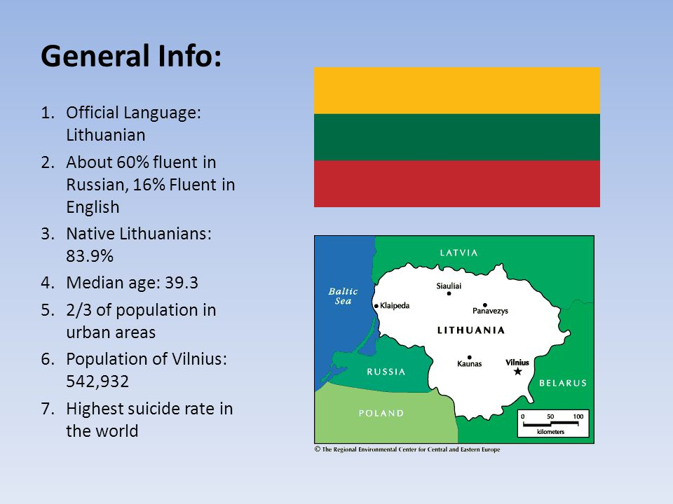 General Info: 1.Official Language: Lithuanian 2.About 60% fluent in Russian, 16% Fluent in English 3.Native Lithuanians: 83.9% 4.Median age: /3 of population in urban areas 6.Population of Vilnius: 542,932 7.Highest suicide rate in the world