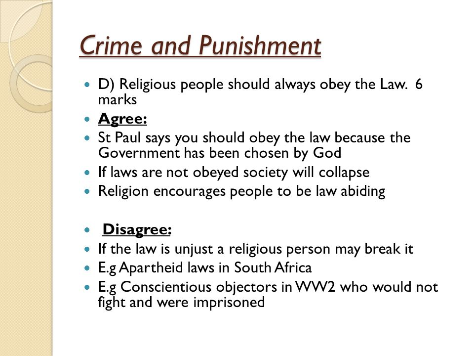Crime and Punishment A) What is crime 2 marks