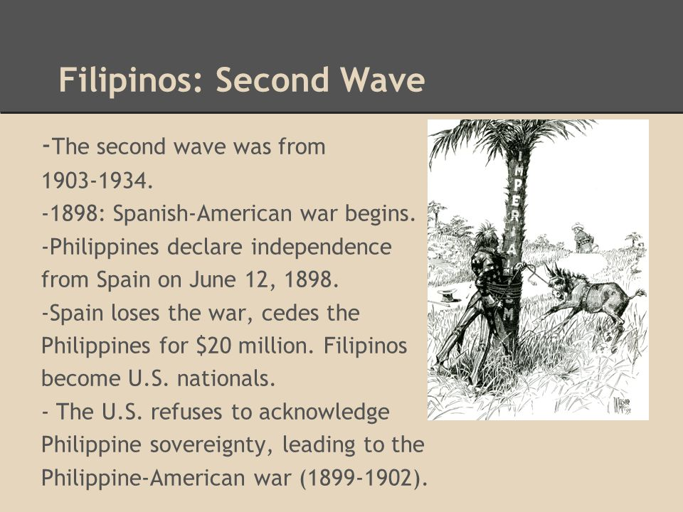 Filipinos: Second Wave - The second wave was from 1903-1934. -1898: Spanish-American war begins. -Philippines declare independence from Spain on June
