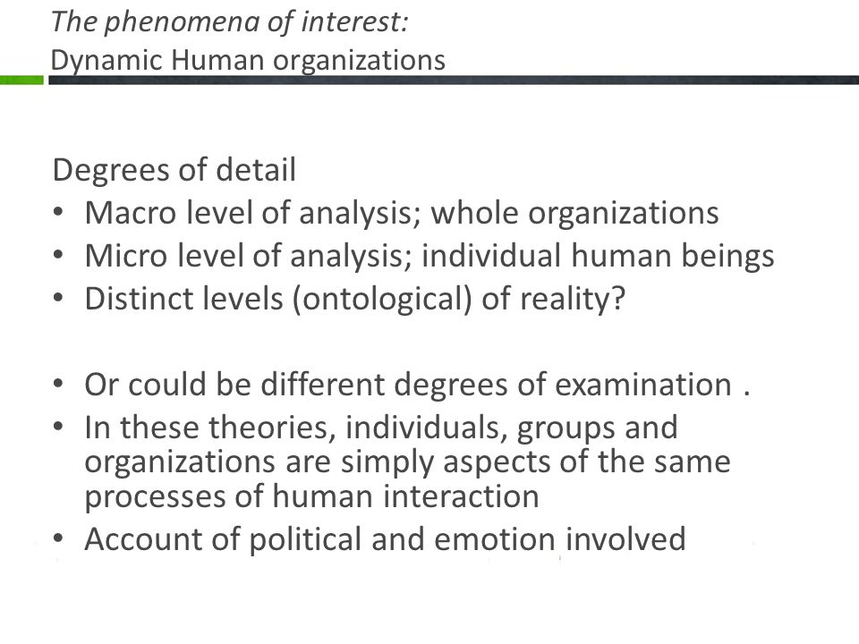 The phenomena of interest: Dynamic Human organizations Degrees of detail Macro level of analysis; whole organizations Micro level of analysis; individual human beings Distinct levels (ontological) of reality.