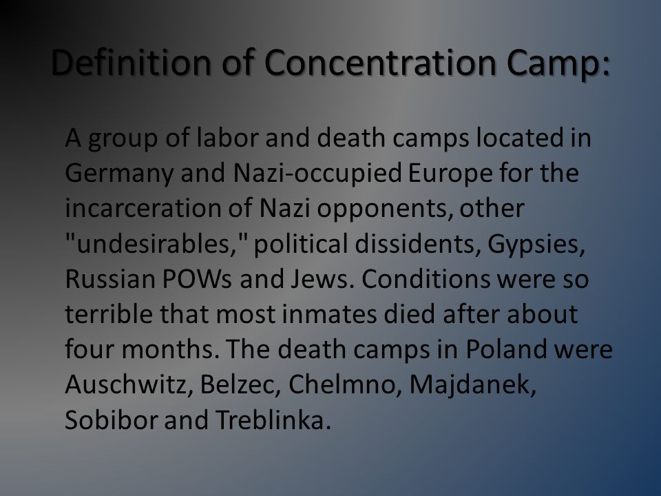 Transportation: The Nazis would not tell the Jews that they were going to a concentration camp.
