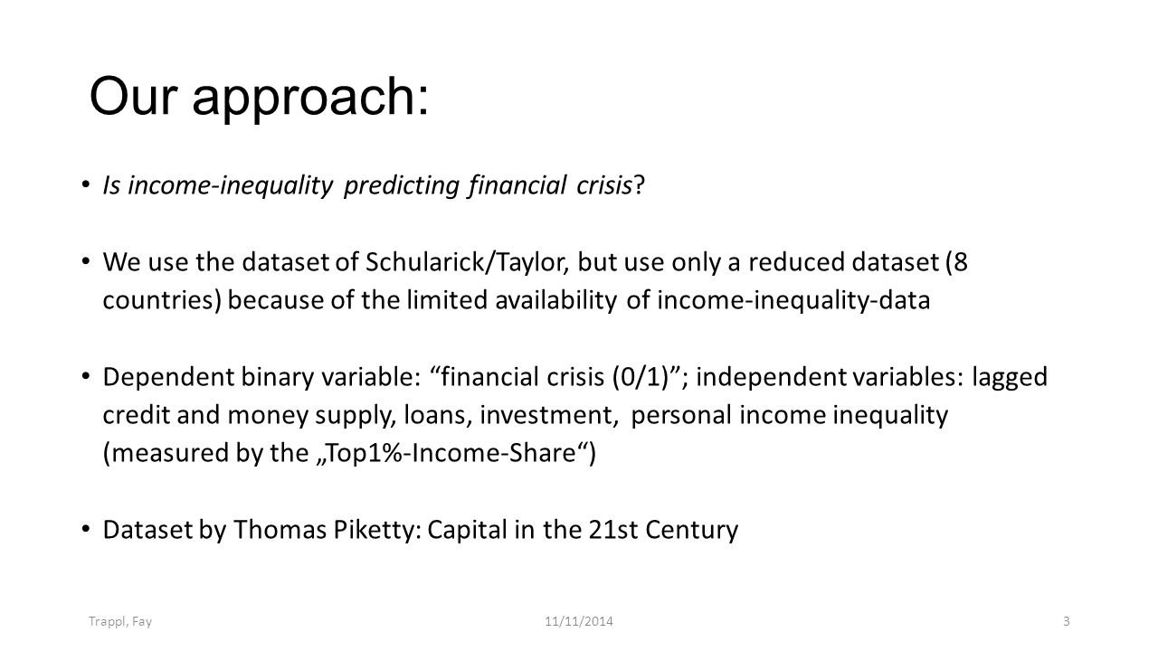 Our approach: Trappl, Fay11/11/20143 Is income-inequality predicting financial crisis.