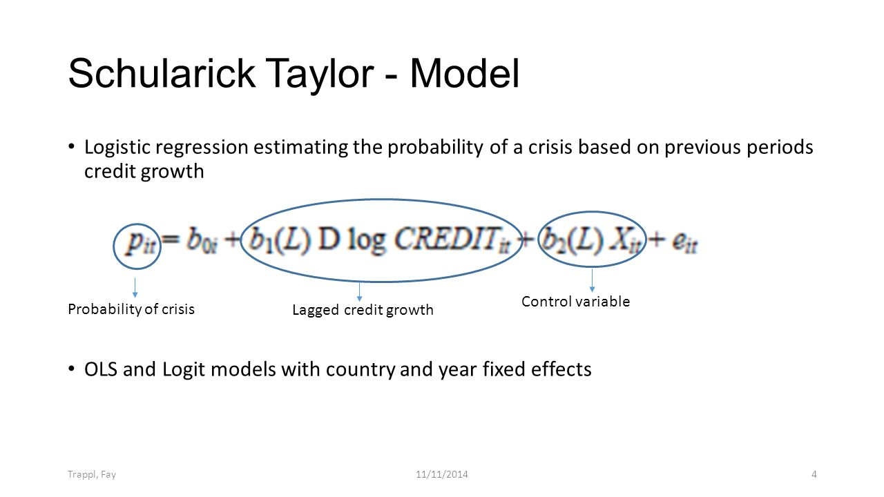 Schularick Taylor - Model Logistic regression estimating the probability of a crisis based on previous periods credit growth OLS and Logit models with