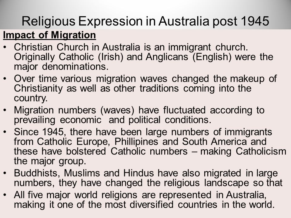 Impact of Migration Christian Church in Australia is an immigrant church. Originally Catholic (Irish) and Anglicans (English) were the major denominat